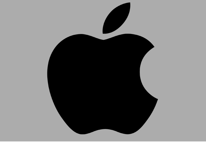 Black apple logo on a grey background